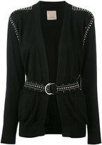 Laneus studded belted cardigan