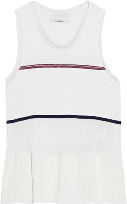 3.1 Phillip Lim Paneled Shirred Striped Stretch-cotton Peplum Tank