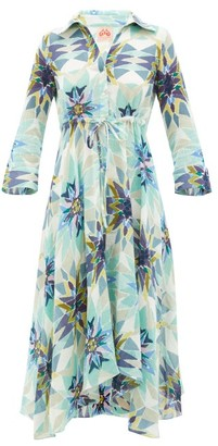 Le Sirenuse Le Sirenuse, Positano - Lucy Diamond-print Cotton Midi Dress - Womens - Blue Print