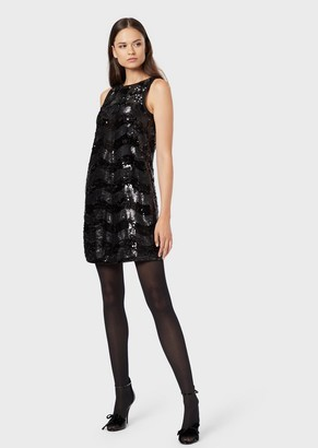 Emporio Armani Tube Dress With Sequins And Wave Motif