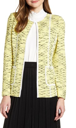 Ming Wang Ming Wing Contrast Detail Collarless Jacket