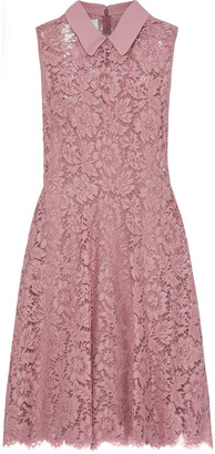 Valentino Crepe-trimmed Cotton-blend Corded Lace Mini Dress