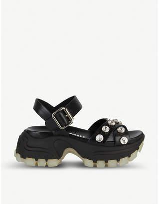 Miu Miu Embellished chunky sole leather sandals