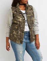 Charlotte Russe Plus Size Camo Knit Sleeves Anorak Jacket
