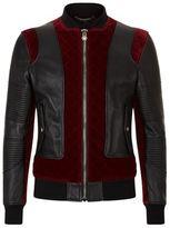 Philipp Plein Velvet Panelled Leather Biker Jacket