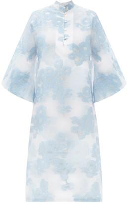 La Vie Style House - No. 511 Floral-jacquard Organza Kaftan - White Multi