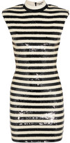 Saint Laurent Striped Sequined Satin Mini Dress - Off-white