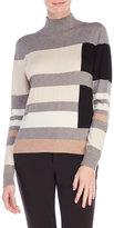 August Silk Color Block Turtleneck Sweater