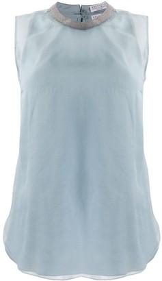 Brunello Cucinelli sheer studded detail blouse