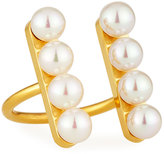 Majorica Minimalist Pearl Bar Open-Front Ring, Gold
