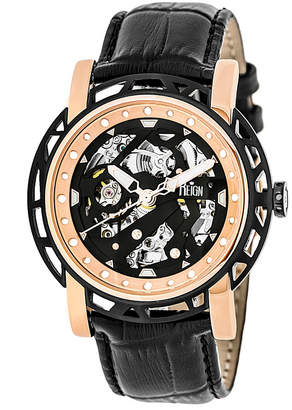 Reign Stavros Automatic Rose Gold Case, Genuine Black Leather Watch 44mm