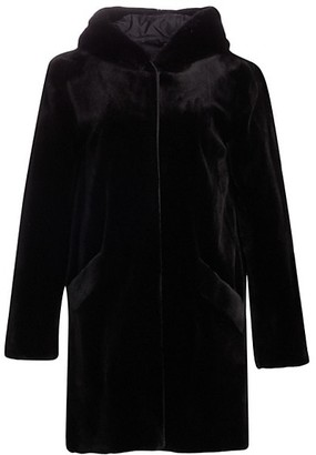 The Fur Salon Norman Ambrose For Hooded Sheared Mink Coat