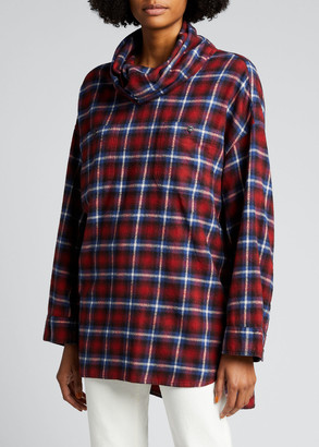 R 13 Oversized Flannel Cowl-Neck Shirt