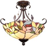 Dale Tiffany Crystal Leaf 2-Light Antique Bronze Semi-Flush Mount Light