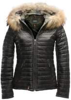 Oakwood Black Leather Fur Trim Jacket