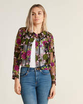 Hache Long Sleeve Floral Embroidered Collared Sheer Blouse