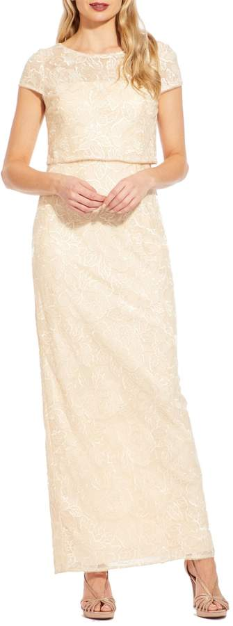 Adrianna Papell Embroidered Floral Lace Gown