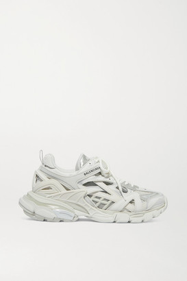 Balenciaga Track 2 Logo-detailed Metallic Mesh And Rubber Sneakers - White