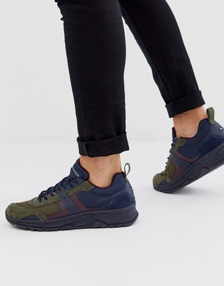 Tommy Hilfiger faux leather suede mix trainer in black/green/burgundy
