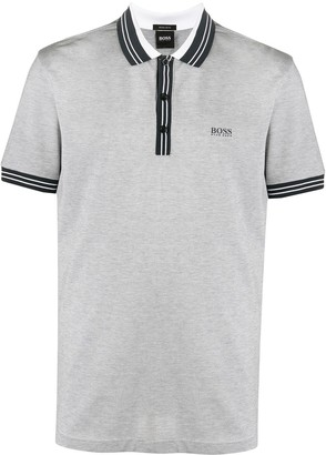 HUGO BOSS Logo Print Stripe Polo Shirt