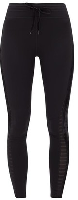 The Upside Velvet-trim Mesh-panel Cotton Leggings - Womens - Black
