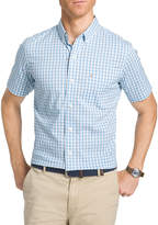 Izod Short Sleeve Plaid Button-Front Shirt