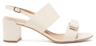 Salvatore Ferragamo Giulia Bow-embellished Patent-leather Sandals - Womens - Beige