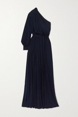 Oscar de la Renta One-shoulder Pleated Jersey Gown - Navy