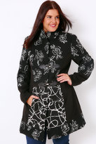 Yours Clothing Black & White Embroidered Funnel Neck Coat