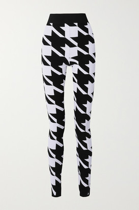 Balmain Houndstooth Stretch-knit Leggings - Black