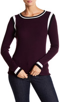 525 America Colorblocked Ribbed Crew Neck Sweater