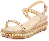Christian Louboutin Cataclou Two-Band Red Sole Wedge Sandal, Nude