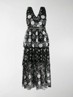Self-Portrait V-neck floral sequin dress