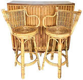 One Kings Lane Vintage Midcentury Tropical Bar with 2 Stools - nihil novi - brown/gold