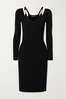 Versace Cutout Embellished Ribbed-knit Dress - Black
