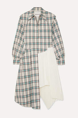 Andersson Bell - Olivia Asymmetric Paneled Checked Twill And Pleated Crepe Dress - White