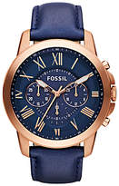 Fossil Fs4835 Grant Chronograph Leather Strap Watch, Navy
