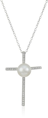 """Bella Pearl Micro Pave Cubic Zirconia Cross with White Freshwater Pendant Necklace 17"""""""