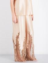 Rosamosario High-rise wide silk-satin pyjama bottoms