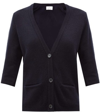 Allude Cropped-sleeve Cashmere Cardigan - Navy