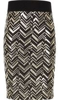 River Island Girls black and gold tube skirt
