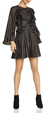 BCBGMAXAZRIA Ruffled Metallic Stripe Dress