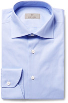 Canali Blue Slim-Fit Cutaway-Collar Houndstooth Cotton-Poplin Shirt