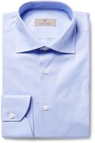 Canali Blue Slim-Fit Cutaway-Collar Houndstooth Cotton-Poplin Shirt