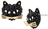 Betsey Johnson Pave Black Cat Stud Earrings