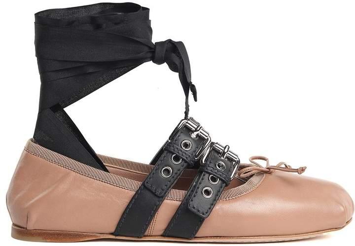Miu Miu Lace-up Grosgrain-trimmed Leather Ballet Flat