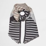 River Island Womens Grey block stripe jacquard scarf