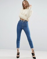 Asos Design DESIGN Farleigh high waisted slim mom jeans in harley flat blue wash