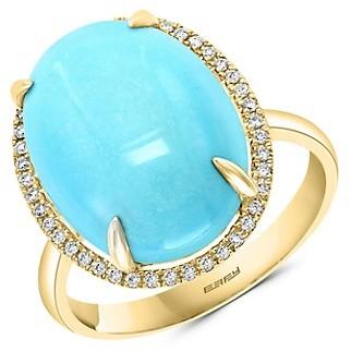 Effy 14K Yellow Gold Turquoise Diamond Oval Ring