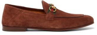 Gucci Brixton Web-stripe Horsebit Suede Loafers - Mens - Brown